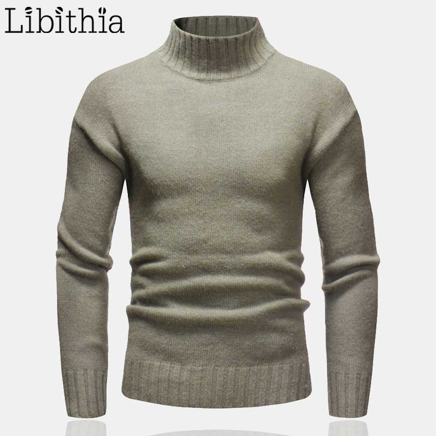 Men's Turtleneck Sweater Pullover Solid Color Long Sleeve Outwear M-3XL Winter Men Top Knit Clothes Male White Pink Coffee T315