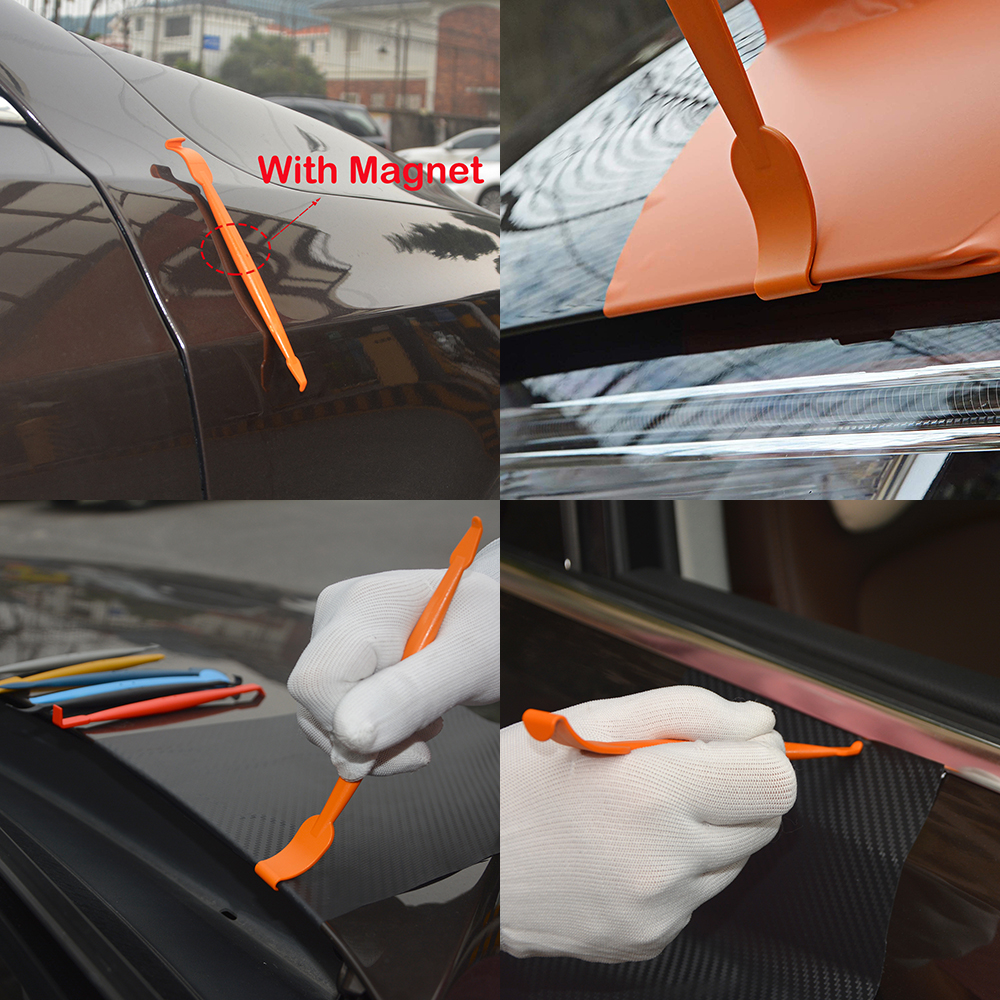 Image 2 - EHDIS Carbon Fiber Vinyl Car Wrap Tools Set Magnet Squeegee Scraper Knife Magnetic Sticker Wrapping Tool Window Tint Film Cutter-in Scraper from Automobiles & Motorcycles