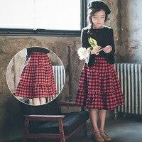 Baby Girl Summer Long Skirt For Girls Pleated Tutu Skirt Red Fluffy Pettiskirts Princess Skirt Children