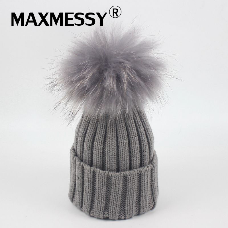MAXMESSY Winter kid knitted Hat Baby Big Raccoon Fur Pom Poms Skullies Beanies Boy Girls Warm Wool Caps for Children MH106 new star spring cotton baby hat for 6 months 2 years with fluffy raccoon fox fur pom poms touca kids caps for boys and girls