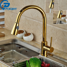 POIQIHY Gold Kitchen Mixer Hot and Cold Taps Handheld Pull Out Kitchen Faucet Deck Mounted Polish