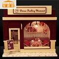 Vigésimo quarto DIY Casa de Boneca Artesanato Modelo 3D De Madeira Kit-Miniaturas & instrução Inglês & Móveis de Presente de X'mas