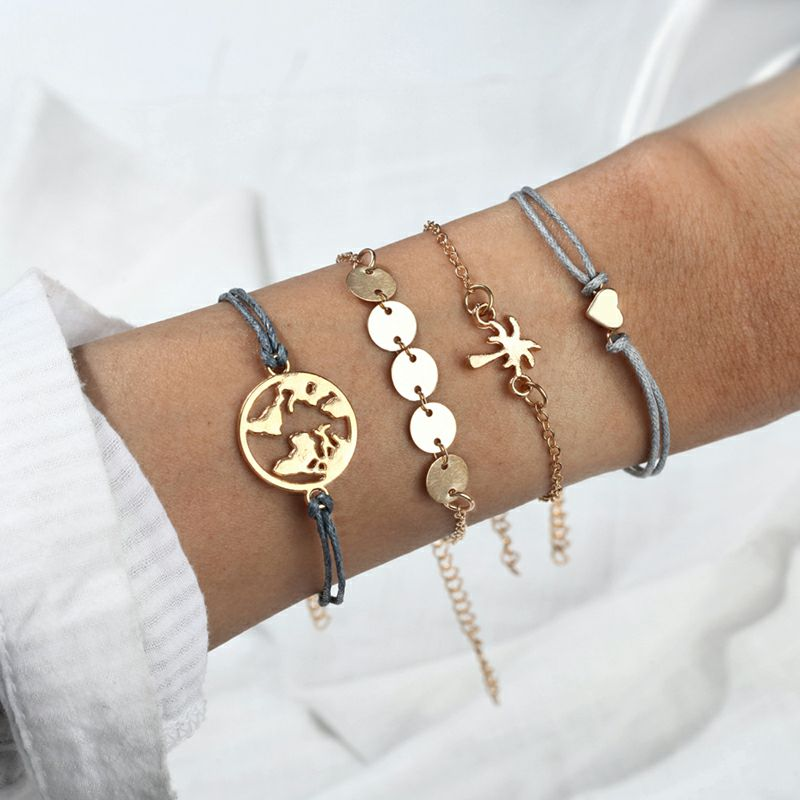2019 Fashion Bracelet for Women Golden Map Coconut tree heart-shaped 4 pcs Bracelet Summer Bracelet Gift for Birthday Friends image