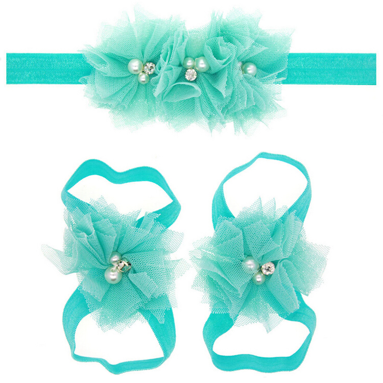 1 Set Cute Girls Lace Hair Band Matching Barefoot Sandals Foot Flower Pearl Drill Headband Tiara Beach Summer 2017 New pair of chic hollow flower lace up barefoot sandals for women