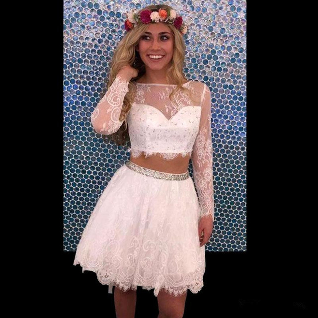 New Arrivals 2 Piece Prom Dresses A Line Long Sleeve Lace Short