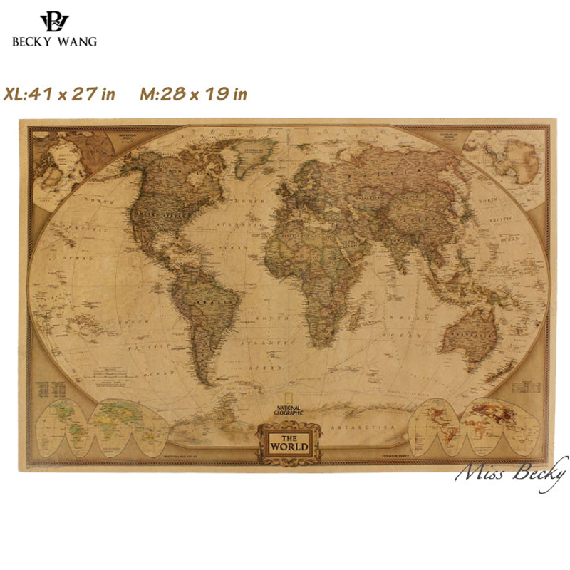 Map World Poster New Vintage World Map Travel Home Decoration Detailed Antique Poster Wall Chart Retro Paper Matte Kraft Paper world map wall sticker