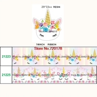 24 styles printed cartoon Unicorn grosgrain ribbon and resin sets 50yard ribbon and 50pcs resin 1Pack JJOB12