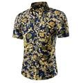 Camisas casuais 2016 Homens sociais camisa fino Camisa de Manga Curta Roupas de Algodão floral praia Verão dos homens camisa de vestido camisa M ~ 5XL