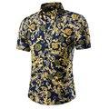 Camisetas casuales 2016 de Los Hombres Ropa delgada camisa social Camisa de Algodón de Manga Corta Summer beach floral camisa para hombre vestido de camisa M ~ 5XL