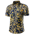 Casual Shirts 2016 Men camisa social slim Clothing Cotton Short Sleeve Shirt Summer beach floral mens dress shirt camisa M~5XL