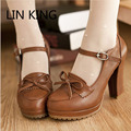 LIN KING Princess Lolita Shoes Bowtie Cute Sweet Japanese Shoes Cosplay Maid Anim Shoes Student Girls Leather PU Women Shoes