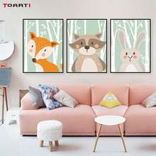 Cartoon Forest Animals Poster Prints Rabbit Fox Bear Canvas Painting On The Wall For Kids Bedroom Nursery Art Picture Home Decor(China)
