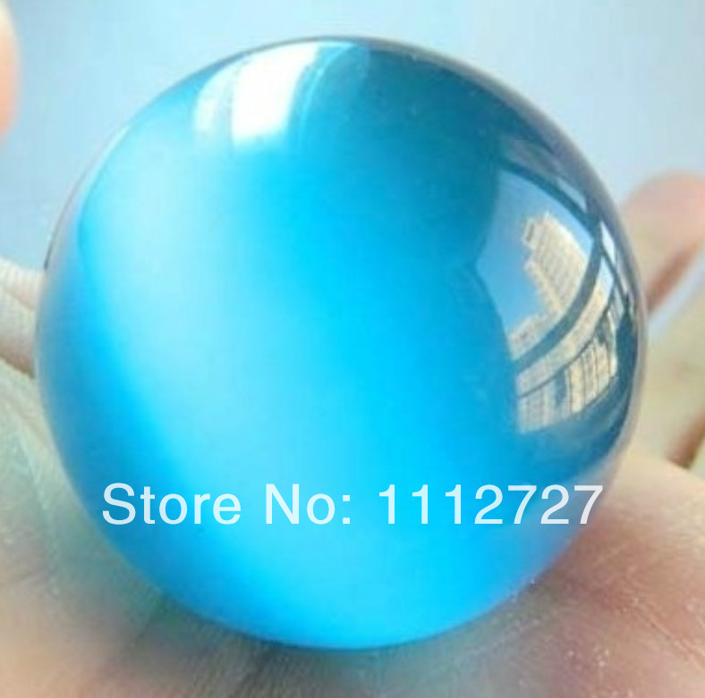 AA+ 40mm Blue Mexican Moonstone Sphere Chalcedony Beads Crystal Ball Natural Stone Ornaments Fashion Jewelry Making Design EA181