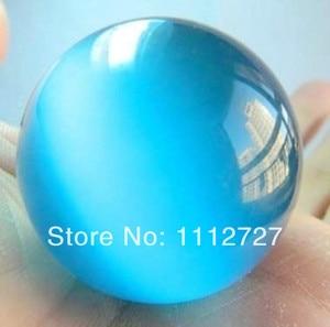 AA + 40mm azul piedra lunar mexicano esfera Calcedonia cuentas bola de cristal adornos de piedra Natural diseño de fabricación de joyería de moda EA181