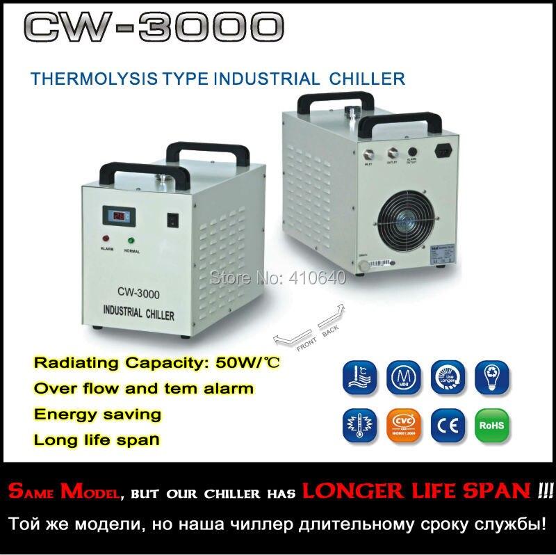 Купить с кэшбэком CW-3000AH Thermolysis Type Industrial Chiller For Laser Machine LONGER LIFE TIME CW-3000 cooler for laser equipment