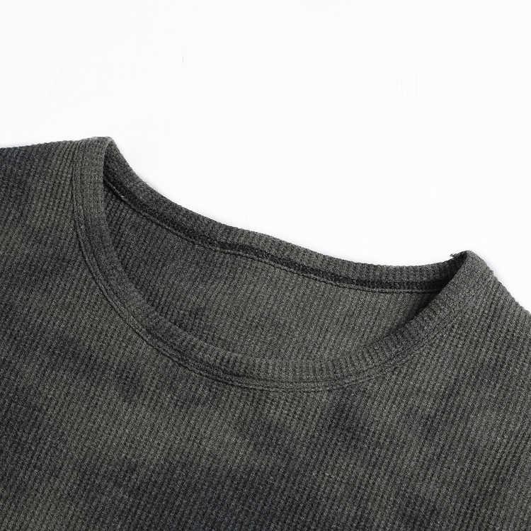 Masculino casual bottoming elástico waffle tecido manga longa camiseta masculino fino tie dye algodão o pescoço estilo britânico camisetas superiores t935