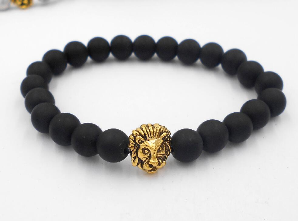 2017 Leopard Tiger Eye Lion Head Bracelet Elastic Rope Chain & Link Natural Stone Friendship Men Bracelets Jewelry
