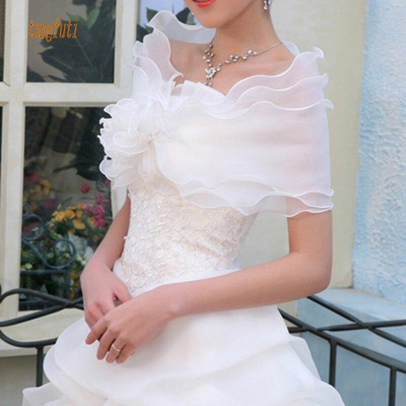 Wedding Bolero Ruffles Short Women Bridal Cape Red White Cloak Cheap Wedding Accessories