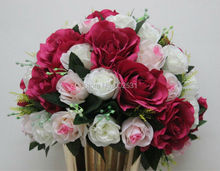 SPR mix ivory & pink & plum style 10pcs/lot wedding road lead artificial wedding table flower center flower ball decoration