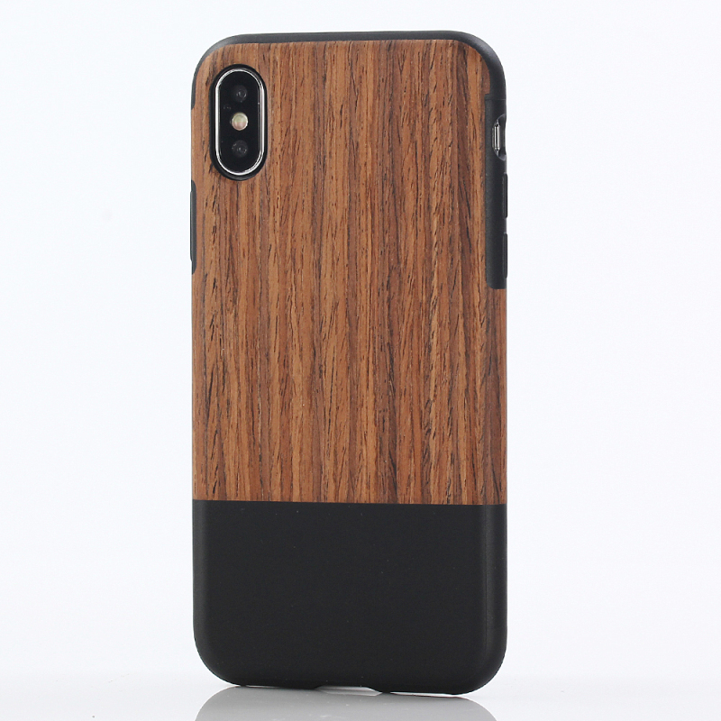 iPhone X 10 Stitching Wood grain PU leather + TPU XH_6