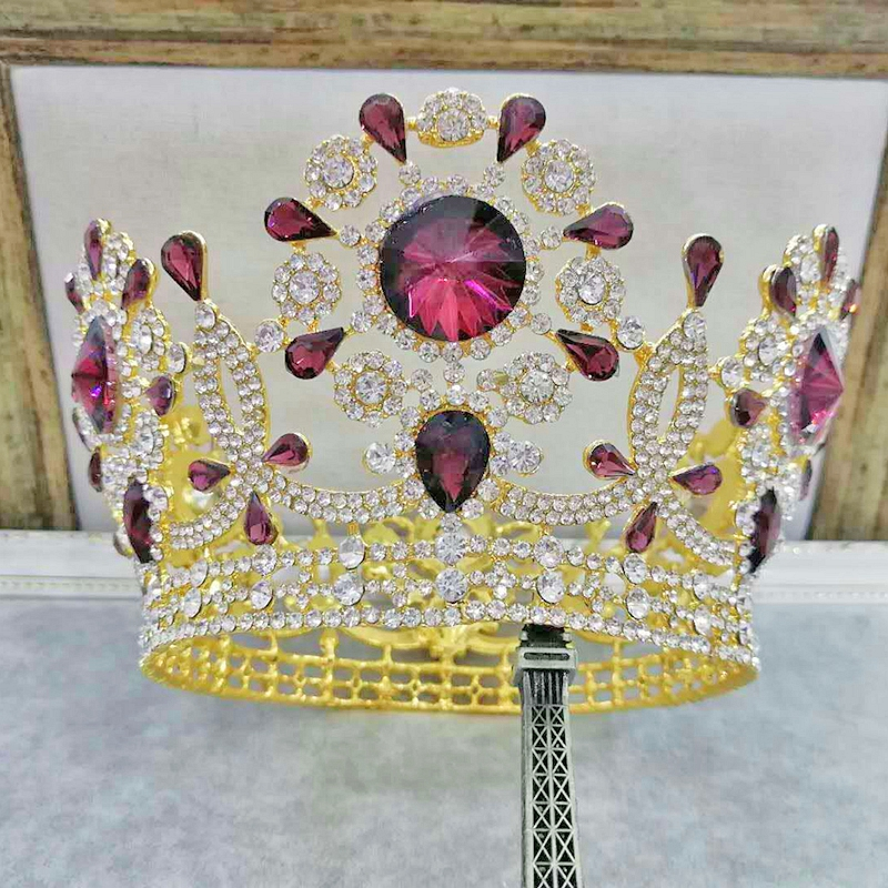Bridal Tiaras and Crowns Sliver Gold Color Hair Crown Full Crystal Rhinestone Large Queen Crown for Women Wedding Hair Jewelry graceful solid color rhinestone crown shape ring for women