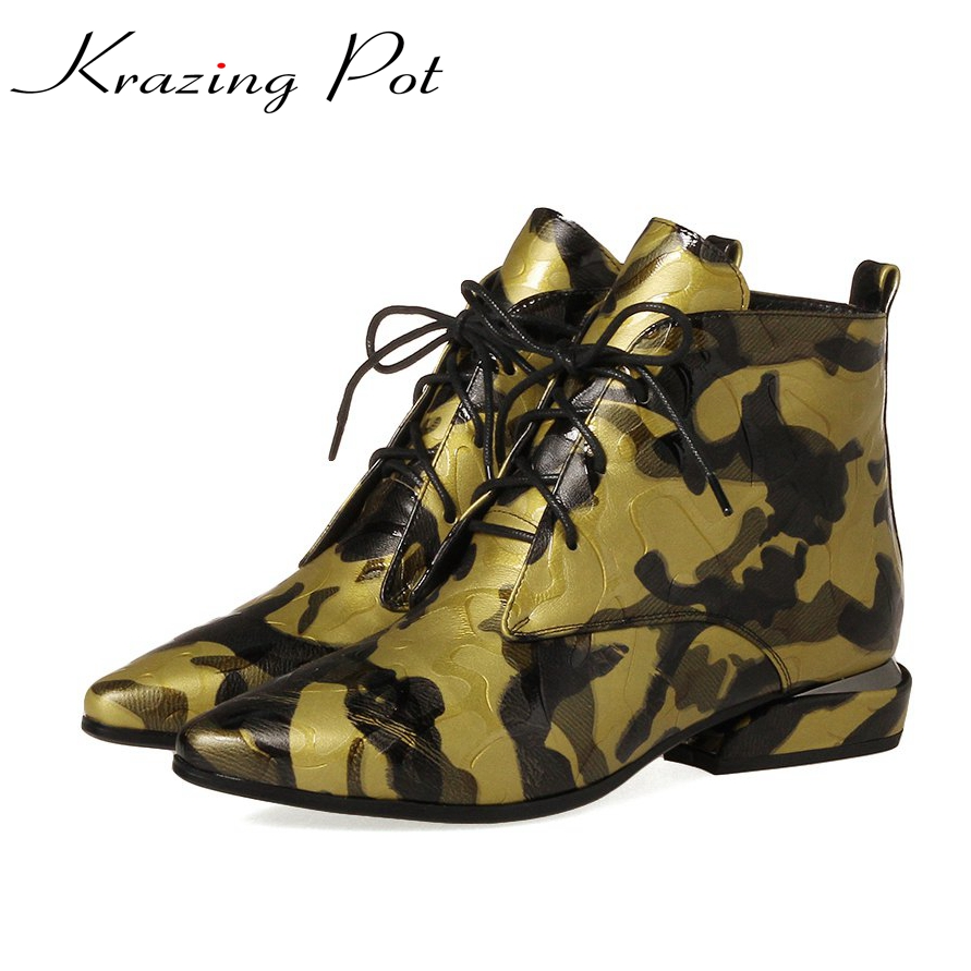 Krazing Pot classics genuine leather flowers lace up low heels pointed toe European vintage beauty fashion cozy ankle boots L5f2 front lace up casual ankle boots autumn vintage brown new booties flat genuine leather suede shoes round toe fall female fashion