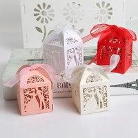 50 шт./партия, свадебные подарки для гостей, бумажная коробка с лазерной обработкой, Подарочная сумка для невесты и жениха, украшения для праз...