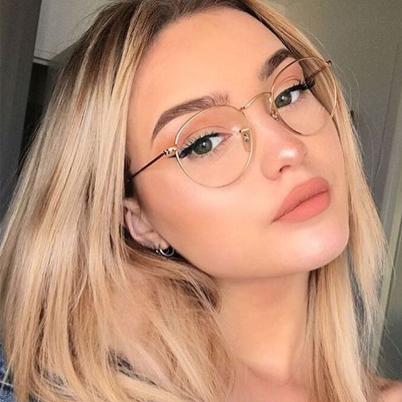 Round Glasses Frame Women 2019 Retro Vintage Oval Eyeglass Frame Transparent Optical Female Frame Eyeglasses Clear Lens Women's