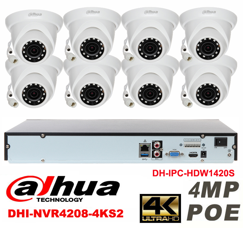 Dahua original 8CH 4MP H2.64 DH-IPC-HDW1420S 8pcs onvif Network camera POE DAHUA DHI-NVR4208-4KS2 Dome IP security camera kit dahua 32ch nvr 16 poe 2u case 8 sata 1080p 200mbps gigabit rj45 android ios