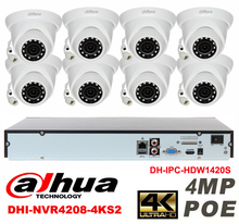 Dahua original 8CH 4MP H2.64 DH-IPC-HDW1420S 8pcs onvif Network camera POE DAHUA DHI-NVR4208-4KS2 Dome IP security camera kit