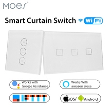 WiFi Smart Curtain Switch Glass Panel App Remote Control Works with Alexa and Google Home or Electric curtain motor EU US