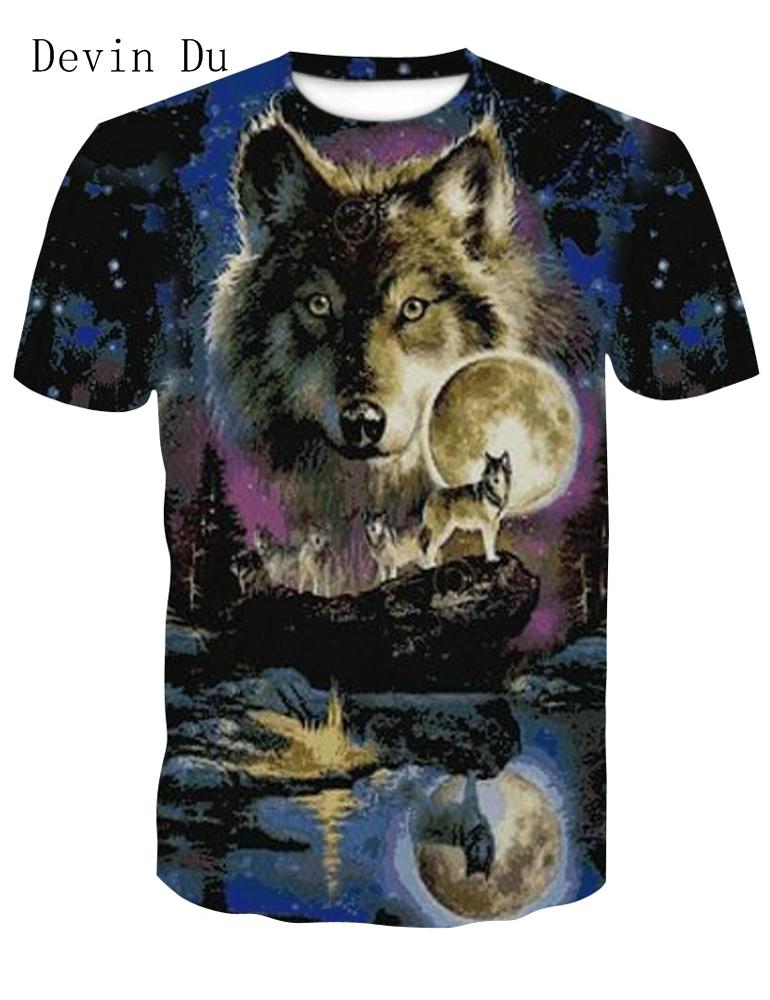 Devin Du 2018 Newest Harajuku Wolf 3D Print Cool   T  -  shirt   Men/Women Short Sleeve Summer Tops Tees   T     shirt   Fashion M-4XL