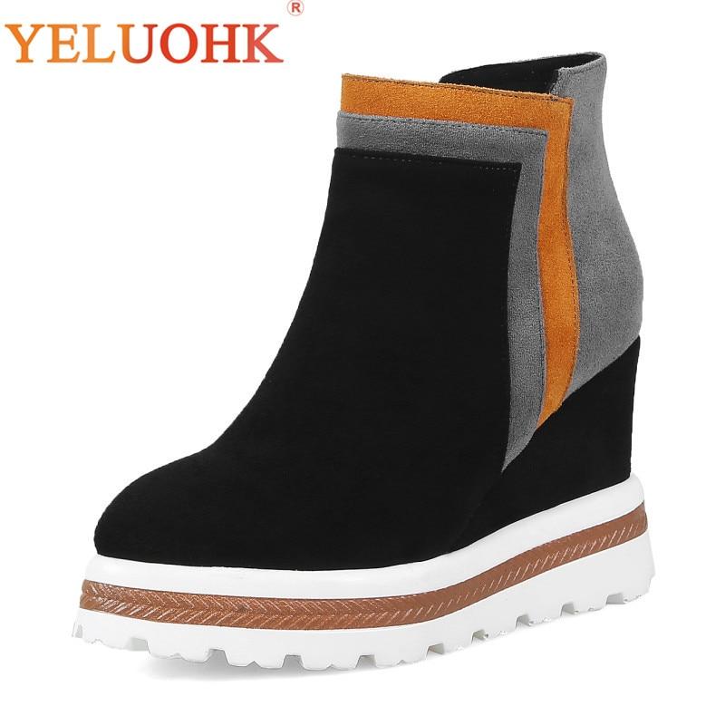 Здесь можно купить  Women Winter Shoes Heel 10 CM Platform Winter Boots Women High Quality Ankle Boots For Women    Обувь