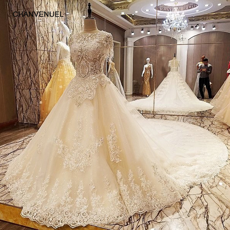 Latest Designs Of Wedding Gowns: LS66842 Latest Wedding Gown Designs With Long Train Ball