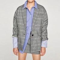 מלא שרוול לחצן בודד בלייזר 2017 סתיו חדש לנשים Jacket למעלה איכות גבוהה חליפות ליזר פס משובץ נשי נשים