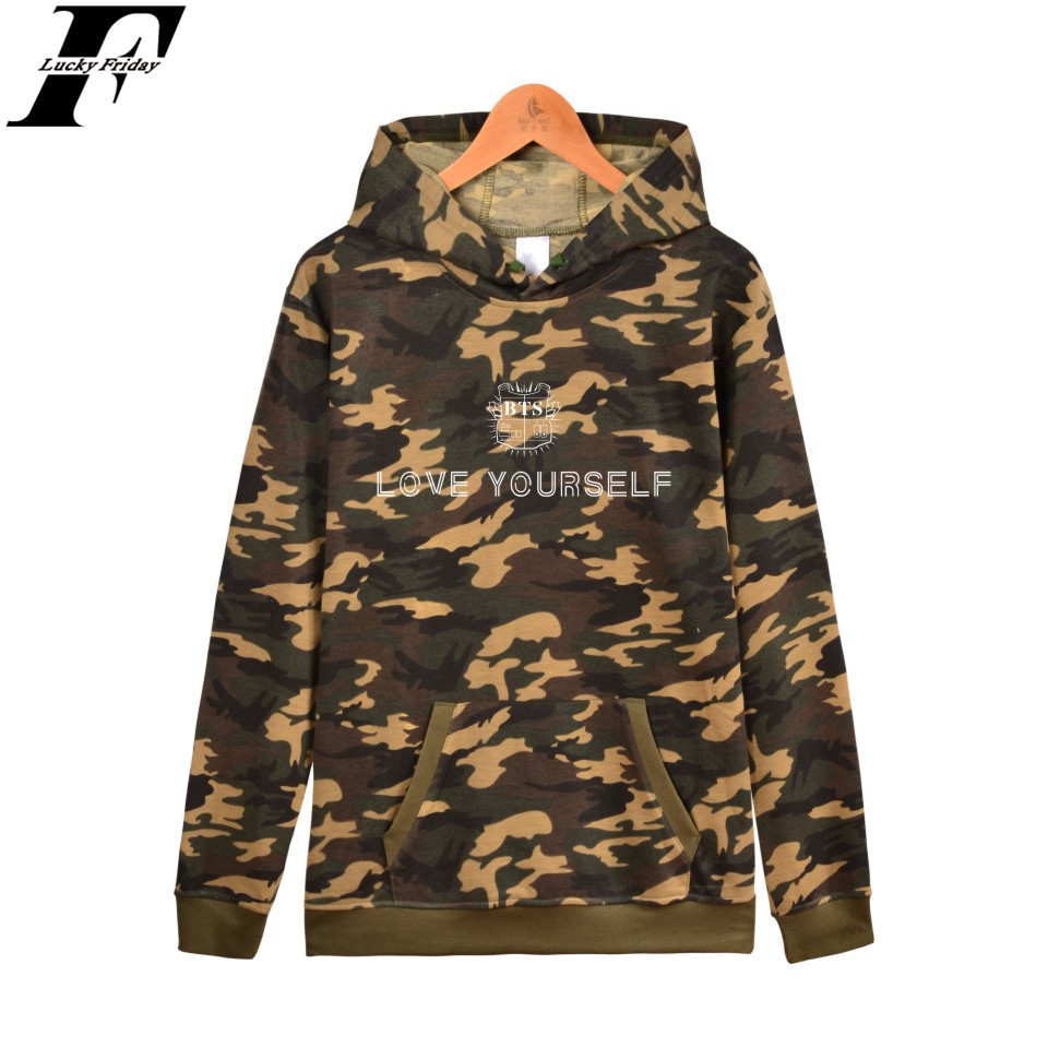 LUCKYFRIDAYF BTS LOVE YOURSELF Fashion Design Sweatshirt Hoodie Warm Thick Cotton New Album Streetwear XXS-4XL Camouflage Unisex