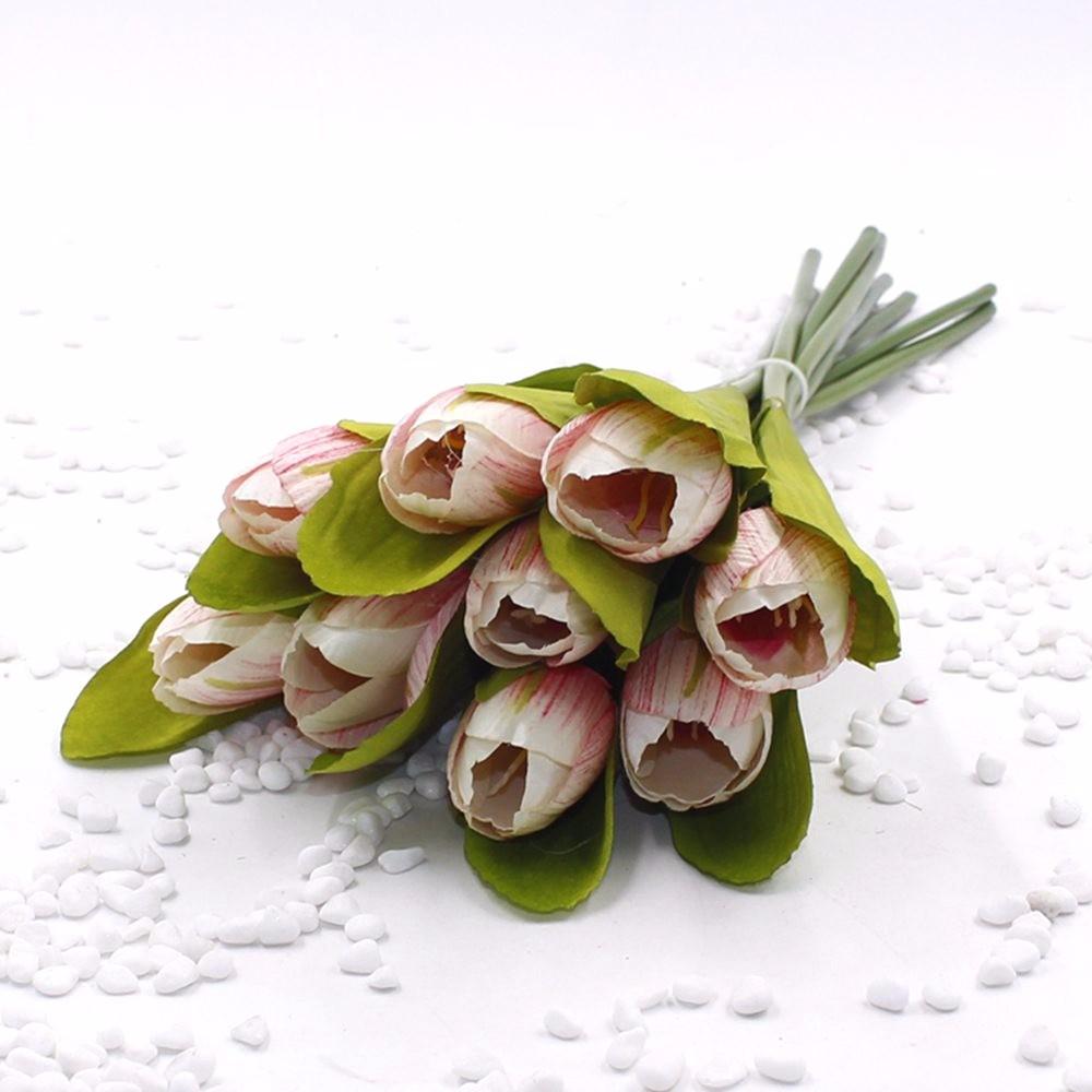 Mẫu hoa Tulip giả M-172 màu đỏ trắng