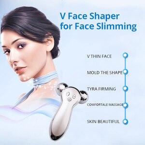 Image 2 - Mirco atual rosto emagrecimento vibrar rolo ems massageador 3d vibração massagem dispositivo corpo moldar instrumento recarregável