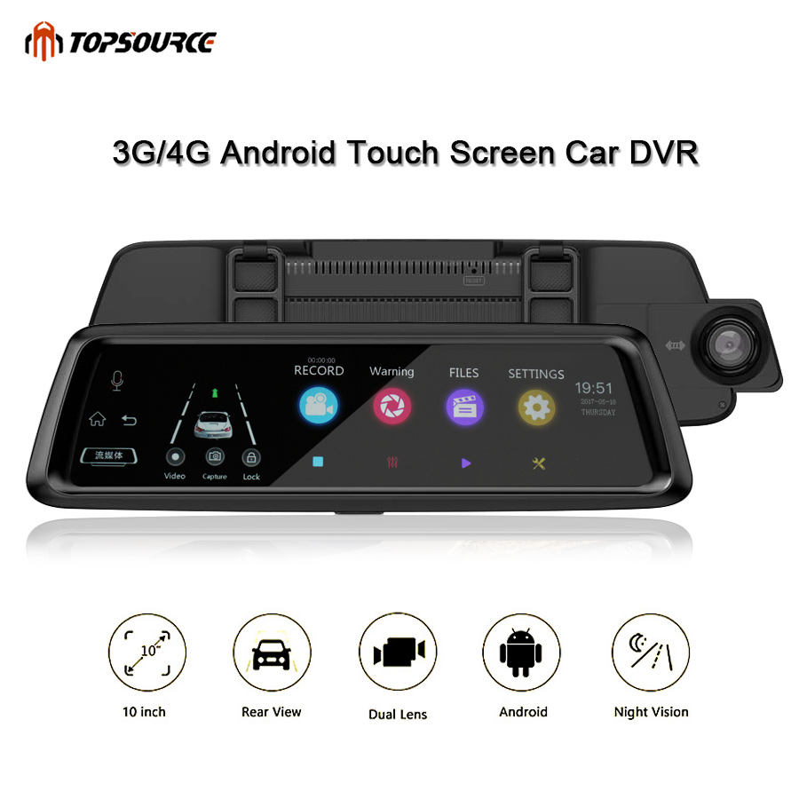 TOPSOURCE Dash Camera 3G/4G 10 IPS Dvr Car HD 1080P Dual Lens Car DVR Camera Auto Bluetooth FM Rearview Mirror Video Recorder plusobd car recorder rearview mirror camera hd dvr for bmw x1 e90 e91 e87 e84 car black box 1080p with g sensor loop recording