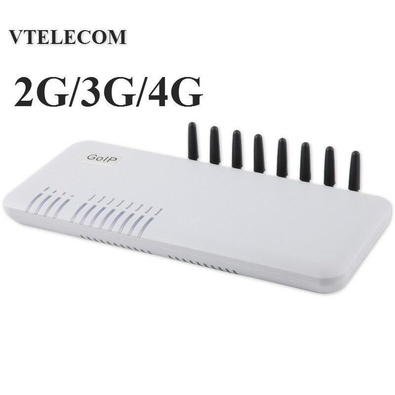 Brand new 4G LTE gateway VOIP com 8 portas GSM/WCDMA LTE VOIP Gateway SIP 2G/ 3G/4G 8 sims gateway IP