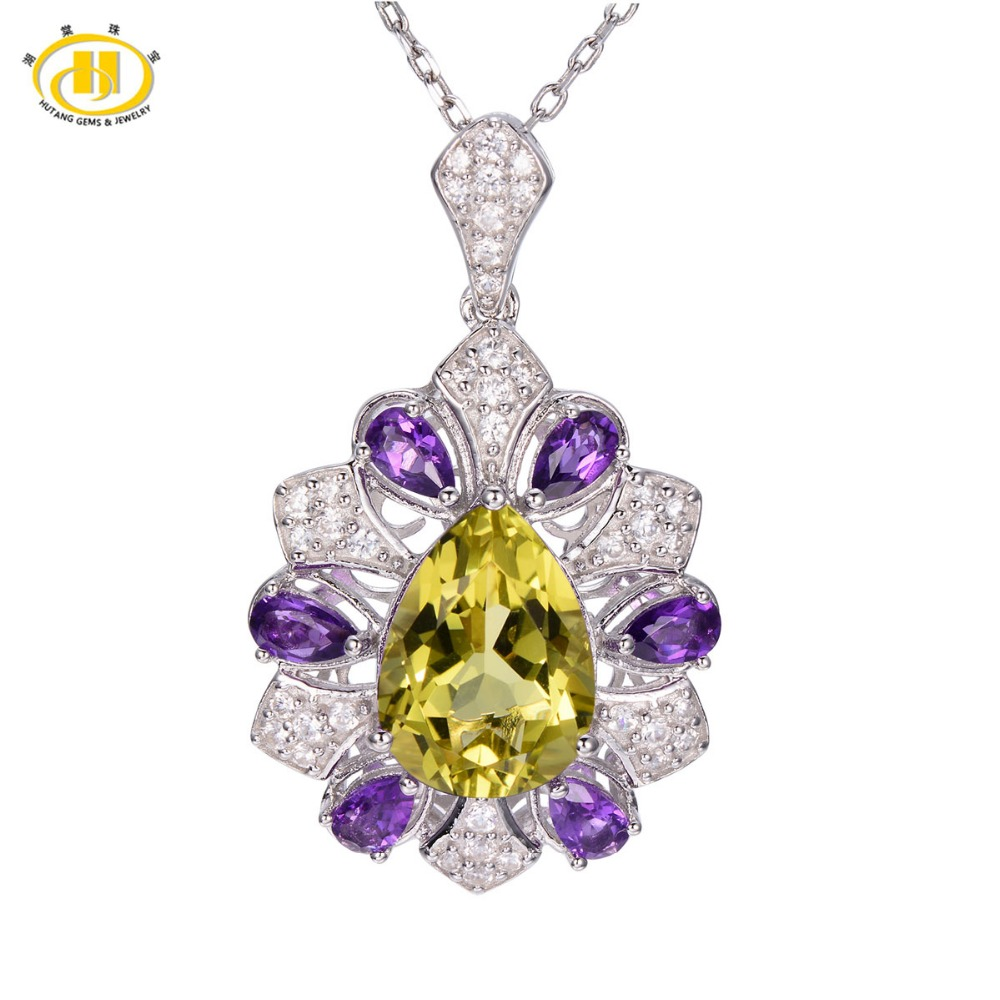 Hutang 6.92ct Natural Lemon Quartz & Amethyhst Solid 925 Sterling Silver Pendant Necklace Gemstone Fine Jewelry Women's