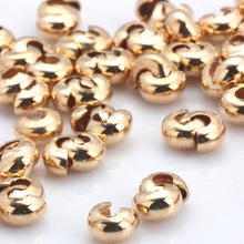 OlingArt 120pcs/lot Plating Gold Dia 5MM/Inner dia 2MM Round snail buckle Copper Crimp Round Covers DIY Jewelry Making цены
