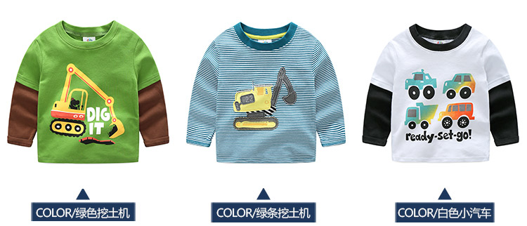 2018 Spring Autumn For 2-9 10 Years Children Cotton Striped Patchwork Cartoon Car Bus Truck Baby Kids Boys Long Sleeve T Shirts (8)