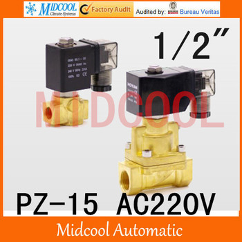 "High temperature steam brass solenoid valve normal closed AC220V PZ-15 port 1/2""steam type"