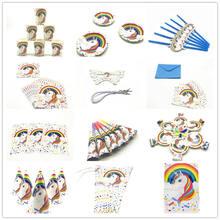 Милый Белый Единорог тема Ins Стиль на день рождения декоративная бумага для вечеринок скатерть чашки пластин Единорог вечерние Baby Shower питания