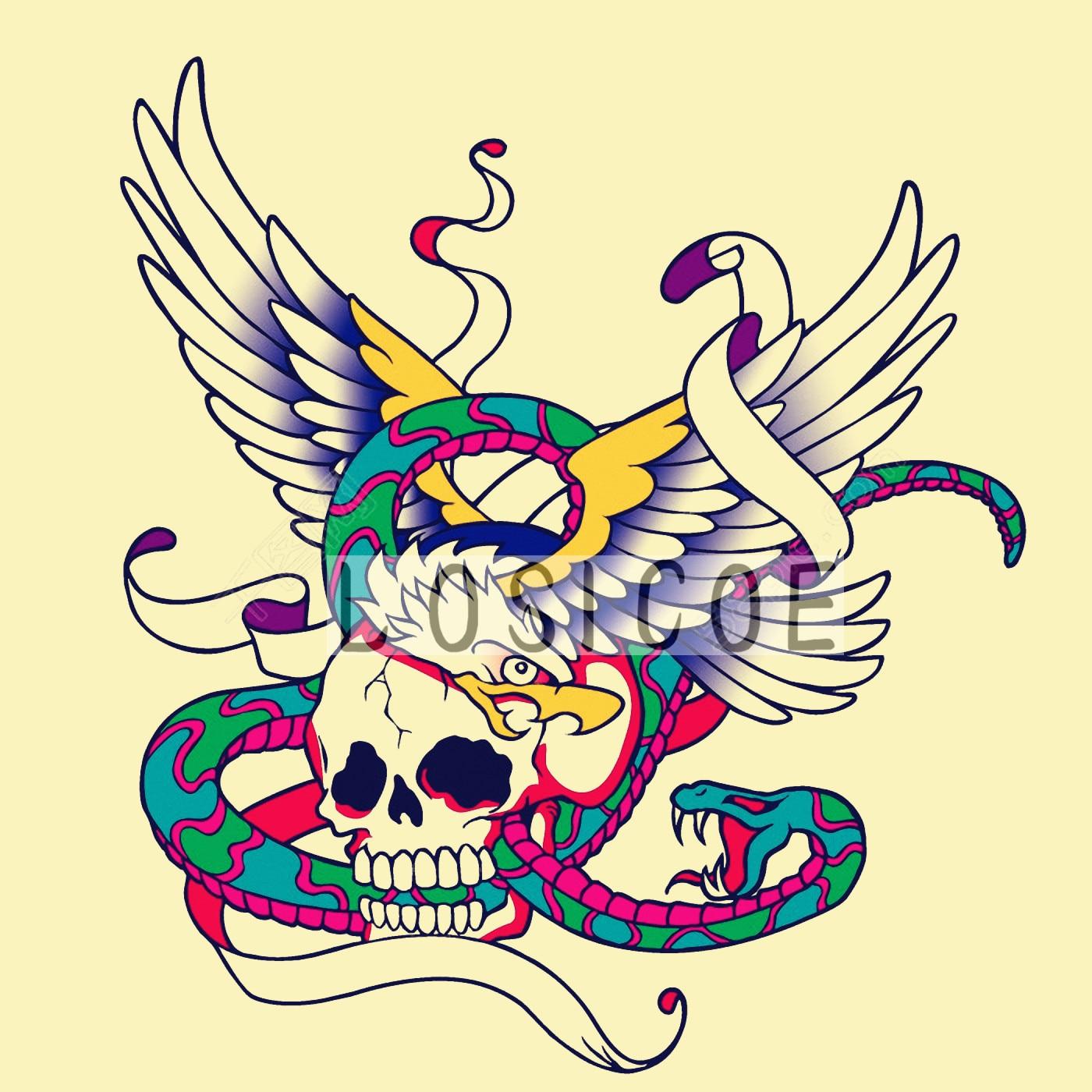 Terbang Tengkorak Fashion Terbaru Tattoo Artist Lukisan
