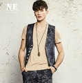 EARL JOEL high quality 2015 men spring autumn 54% linen 46% cotton slim v neck grey casual young man retro Tie dye suits vests