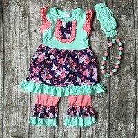 Neonate di estate primavera vestiti delle ragazze bambini floral ruffle dress outfits corallo capri floral ruffle capri con accessori