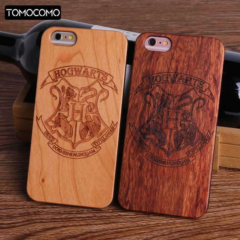 TOMOCOMO Harry Potter Hogwarts Pattern Design Real Wood Phone Cases Cover for Iphone 7 6 6S 8 Plus 5S SE X SAMSUNG S8 S9 plus