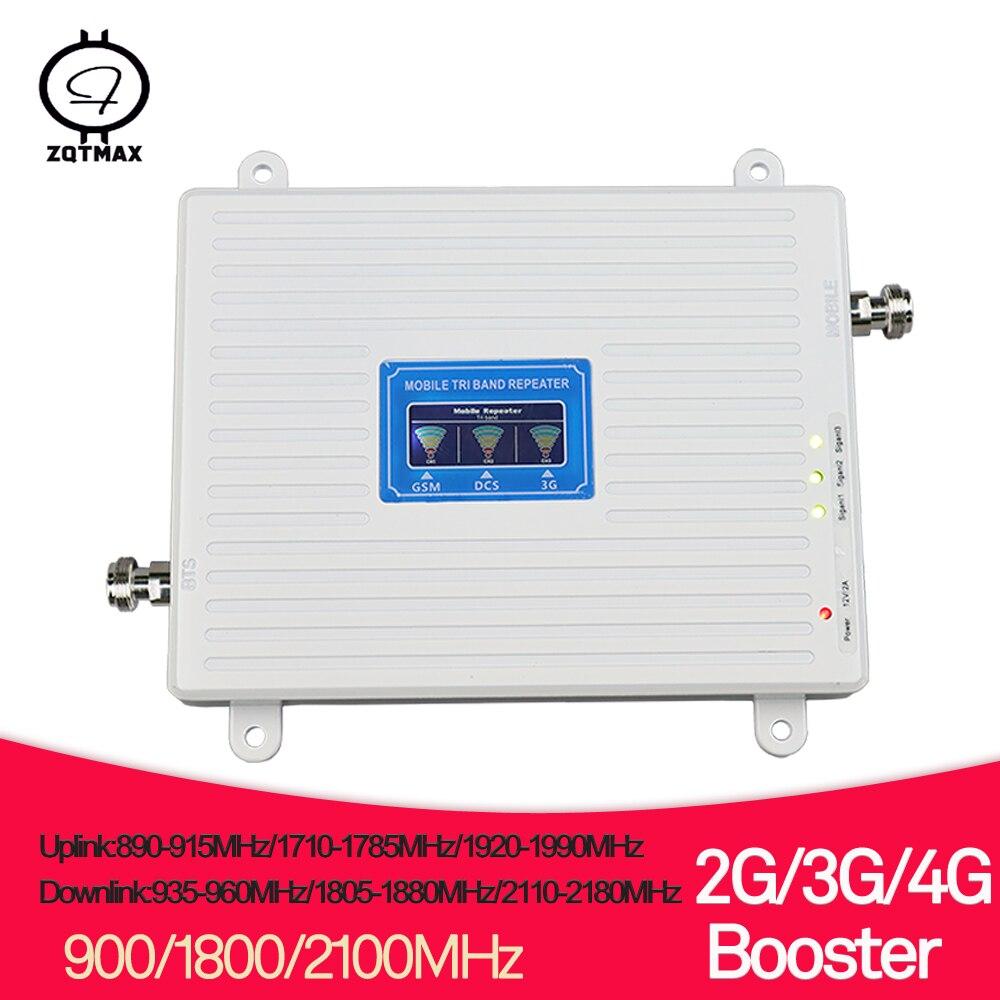 ZQTMAX 2g 3g 4g répéteur Tri bande amplificateur de signal cellulaire 900 1800 2100 GSM WCDMA UMTS LTE DCS 1800 amplificateur cellulaire de téléphone